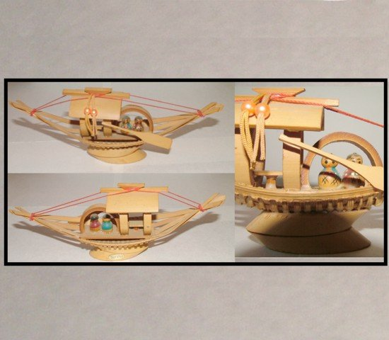 bamboo boat, decorations, oriental art, imported art, knick knacks,