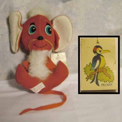 Red Mouse, Herman Pecker & Co., Inc., stuffed animals, toys, mouse, Pecker