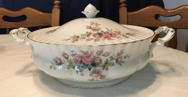Royal Albert Bone China, Moss Rose Pattern, Covered Serving Dish