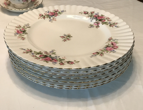 Royal Albert Bone China, Moss Rose Pattern, Dinner Plates