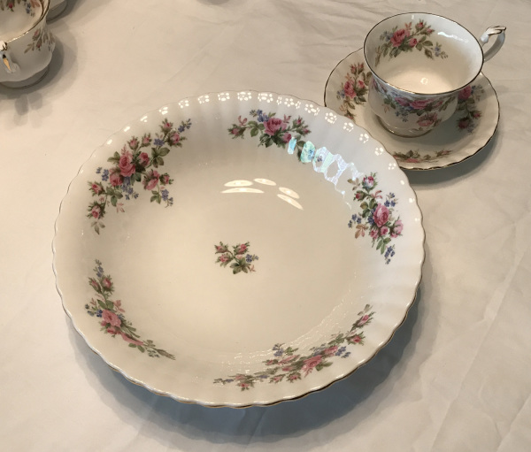 Royal Albert Bone China, Moss Rose Pattern, Serving Bowl