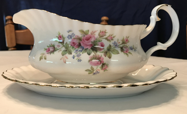 Royal Albert Bone China, Moss Rose Pattern, Gravy Boat and Saucer